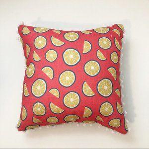 18x18 Reversible Lemon & Stripes Pom Pom Pillow